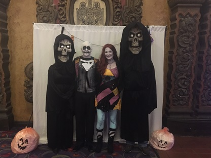 Rachael Delfing and Tom Berry were married on Halloween 2017 at the Akron Civic Theatre. Rachael and Tom dressed as Jack and Sally from The Nightmare Before Christmas and Tom's mother and step-father, photographed on each side of the bride and groom, joined in the fun and arrived to the ceremony in costume.